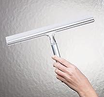 mDesign Espátula limpiacristales para Ducha – Óptima como limpiavidrios para mamparas de Ducha o Ventanas – Limpiador de Cristales de Color Plateado – con Ventosa para fijación a Pared – Aluminio: Amazon.es: Hogar