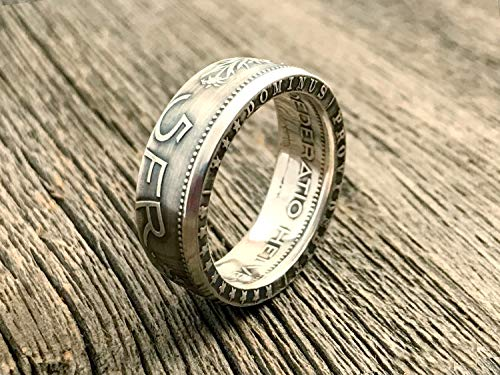 Swiss Silver Coin Ring - Switzerland 5 Francs - Helvetia - 5Fr - CONFOEDERATIO HELVETICA - coin rings - bague de monnaie