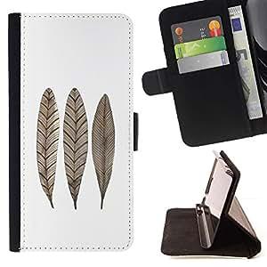 For Samsung Galaxy S4 Mini i9190 (NOT S4) Case , Feather Leaf Fall Blanco Marrón minimalista- la tarjeta de Crédito Slots PU Funda de cuero Monedero caso cubierta de piel