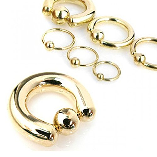 1/2 Inch 8g Captive Bead Rings - Inspiration Dezigns 8G, 6G, 4G, 2G Gold Plated Captive Bead Ring - Sold Individually (6G, Length: 1/2