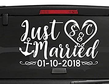Amazon.com: ddecals Stickers- Just Married coche ventana ...