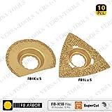 Versa Tool FB-K18 10 PC 63mm Semi- Circular, 80mm Triangular Carbide RASP, 8mm Offset Mount Set For a Perfect Flush Sanding / Grinding for Fein Supercut Oscillating Tool