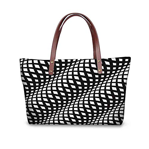 - Custom Handbag Tote Shopping Bags wavy crossed stripes seamless pattern d abstract fashion texture geometric monochrome template Printing Tote Canvas Purse Size:19.2