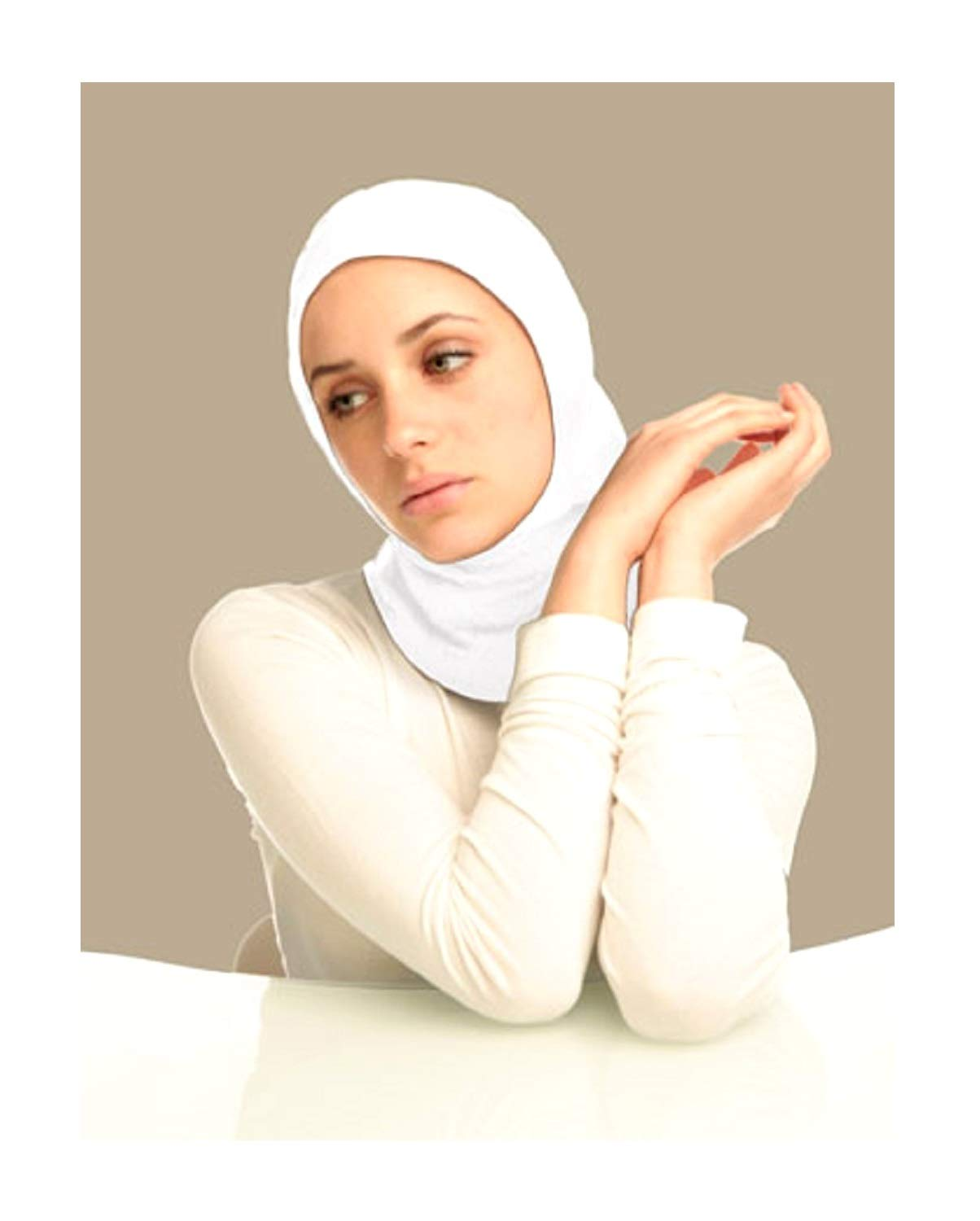 Muslim Team Sports and School PE Hijab for Women and Girls - Full Cover Islamic Sports Bonnet Cap Hat Great Fun (White)