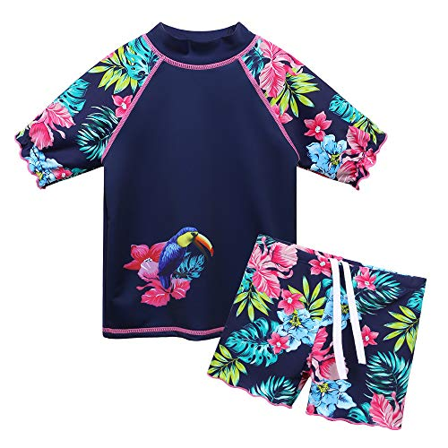 TFJH E Little Girls Swimsuits 2PCS Short Sleeve Swimwear Rash Guard Sets UV 50+ Toucan, Navy Flower 8A ()