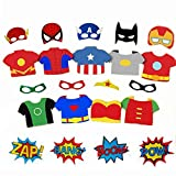 Superhero Cityscape Photography Backdrop and Superhero Props DIY Kit. Great as Super Hero City Photo Booth Background – Birthday Party and Event Decorations (Superhero Props)