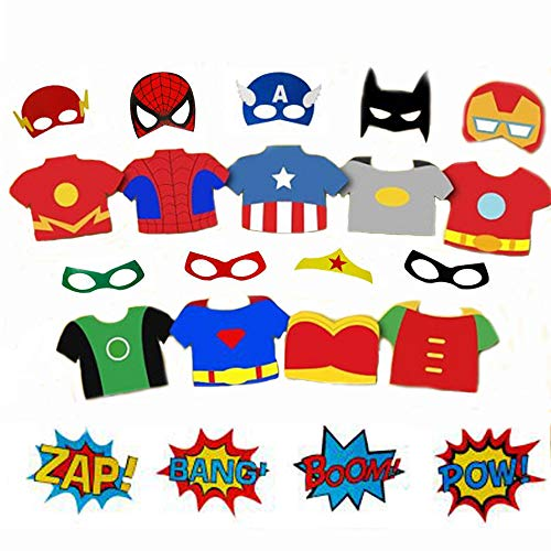Superhero Cityscape Photography Backdrop and Superhero Props DIY Kit. Great as Super Hero City Photo Booth Background – Birthday Party and Event Decorations (Superhero Props) ()