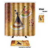 vanfan bath sets Polyester rugs shower curtain oil painting spanish dance 394573966 shower curtains sets bathroom 69 x 84 inches&31.5 x 19.7 inches(Free 1 towel 12 hooks)