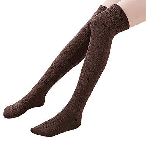 Hippih Womens Winter Over Knee Leg Warmer Crochet Thigh High Boot Socks Girls Leggings(Coffee)
