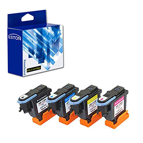 ESTON Remanufactured Print Head Replacement for HP 11 Printhead for HP Designjet 70 90 100 110 500 510 500ps 800ps 9110 K850 (Black Cyan Magenta Yellow) 4 Pack ()