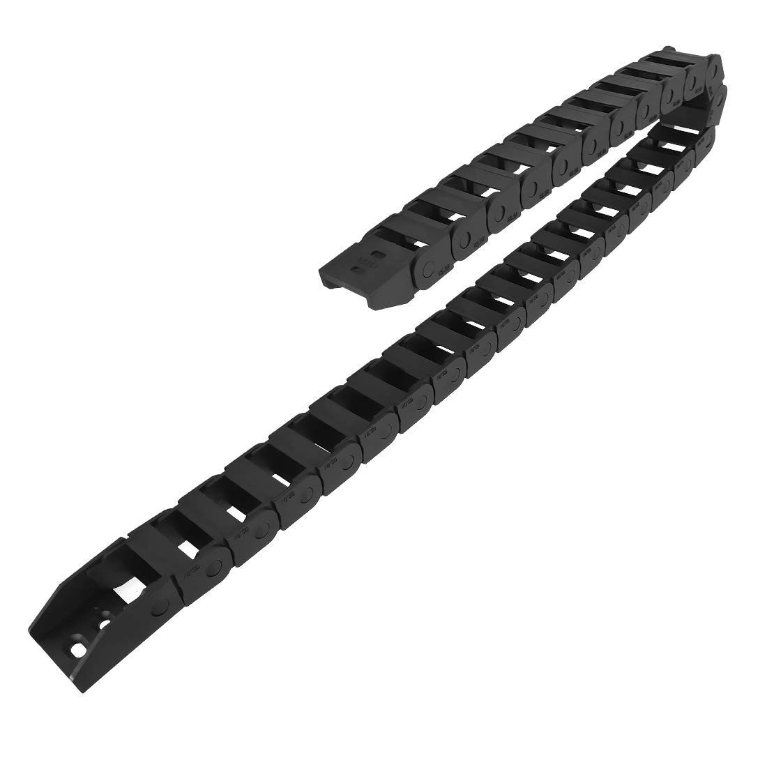 LMioEtool R18 10mm x 10mm Black Plastic Cable Wire Carrier Drag Chain 1M Length for CNC, with End Connectors - Bridge Type (Non-openable)