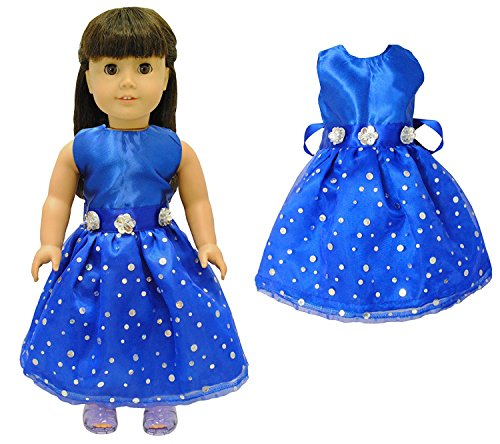 Doll Clothes - Beautiful Blue Dress Outfit Fits American Girl Doll, My Life Doll, Our Generation and other 18 inch (Beautiful Girl With Dress)