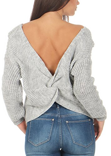 Donna aperta Chiaro malito 7340 Unica sulla Grigio schiena maglione maglia Taglia Sf5qY4