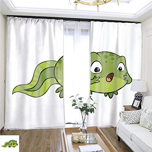 (Tulle Curtain Cute Cartoon Vector Baby Tadpole Looking Surprised OMG Wow face Expression W108 x L84 1352 Loop Curtain Panels Highprecision Curtains for bedrooms Living Rooms Kitchens etc.)
