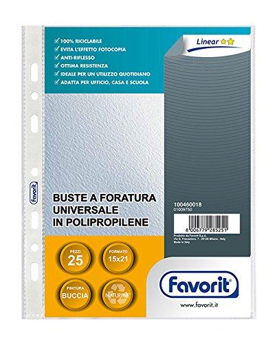 Favorit 100460018 Busta a Foratura Universale Formato Interno 15x21 Finitura Buccia D'Arancia Confezione da 25 pz. Hamelin Brands 179300