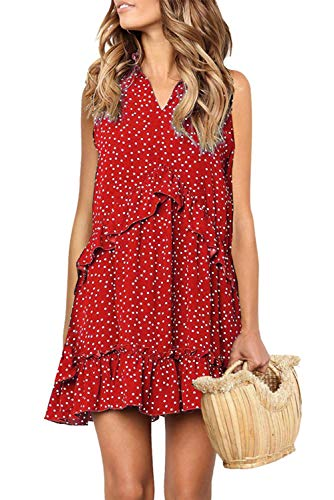 (Women's Oversized Sleeveless Dress Fashion Polka Dot Evening Party Dress Red)