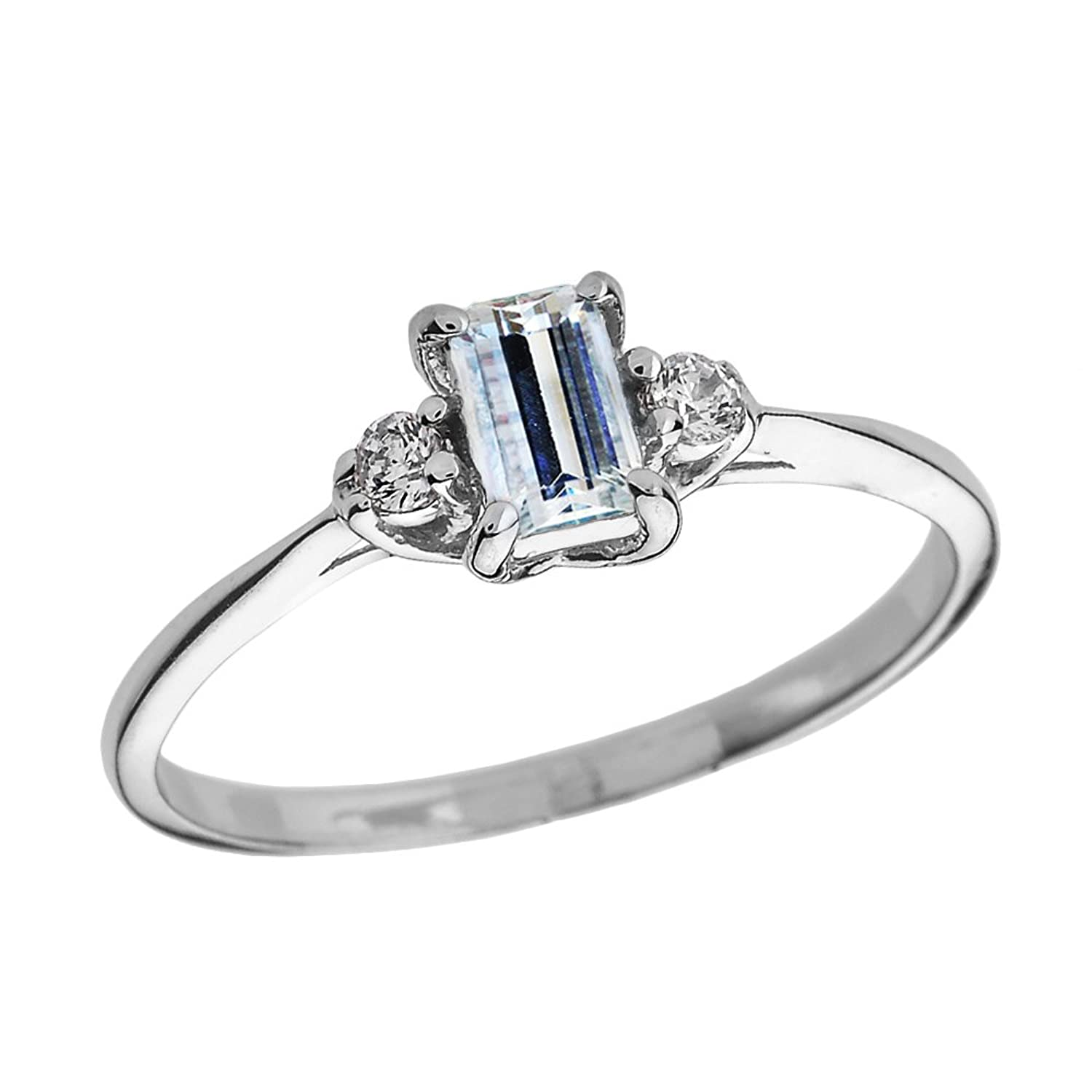 Solid 10k White Gold Diamond and Aquamarine Proposal and Birthstone Ring