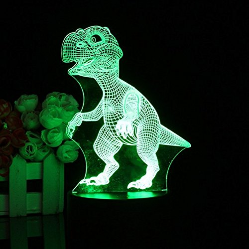 (Night Light 3D Illusion LED Lamp Touch Control with 7Color,Dinosaur Optical Visual Lights with Stereoscopic,Remote Lamps with Acrylic Flat & ABS Base & USB Cable)