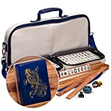 "Yellow Mountain Imports American Mahjong Set with 166 Tiles Adorned with Koi Fish Motif, Leatherette Case, Racks with Pushers, Betting Coins, Dice, and Wind Indicator, ""Koi"""