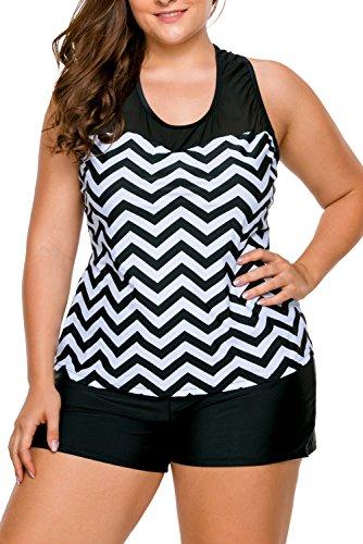 cebc458e57795 Lalagen Women's Racerback Tankini Plus Size Two Pieces Swimwear with  Boyshort size XXXL (Black White)