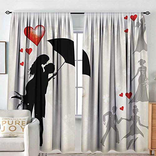 Blackout Thermal Insulated Window Curtain Valance Wedding,Couple in Love Valentines Umbrella Hearts Daisies Romance in Air Celebration,Black White Red,Rod Pocket Valances 100