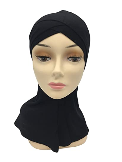 931d8a6013 Double Crossover Solid Color Cotton Muslim Arab Women Inner Cap Scarf  (Black)