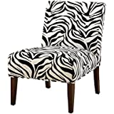 Bowery Hill Fabric Accent Chair in Black White and Espresso