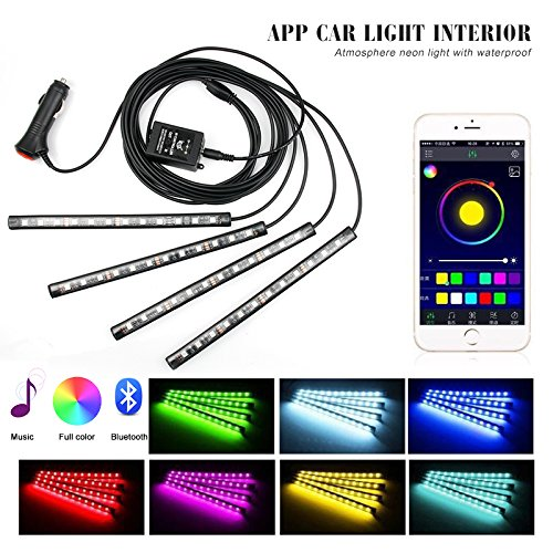 Car LED Strip Lights, ONEKA 4pcs 48 LED Bluetooth APP Control Atmosphere Interior Lights Multicolor Music Car Led Light Strips Under Dash Lighting Kit For DIY Car Indoor Party (Car ()