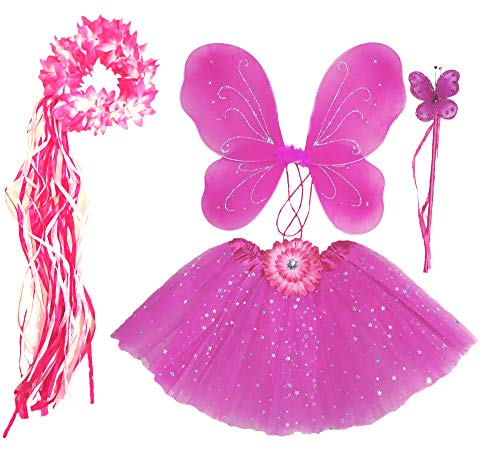 Butterfly Costume 4t (Girls Hot Pink Fairy Costume with Butterfly Wings, Wand, Tutu &)