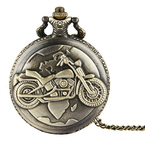 WZC Vintage Motorcycle Quartz Movement Arabic Numerals Pocket Watch with Chain and Gift Box