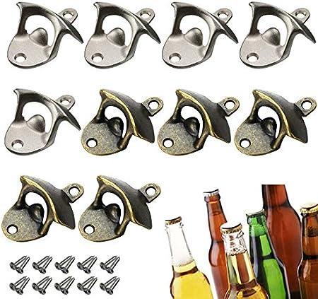 Zuzer 10pcs Abrebotellas Vintage Abrebotellas de Pared Destapador de Botellas de Cerveza Abridor de Botellas para Hogar Bar Restaurante
