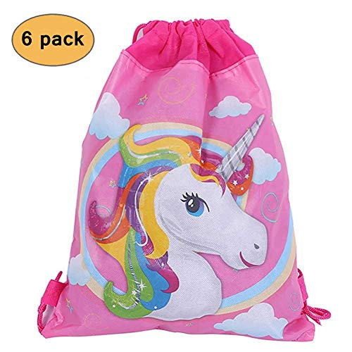 Mintbon Unicorn Drawstring Bag Pouch Goodies Favors Bags, Candy Gift Bags for Children Girls Birthday Party Favors Bags 6 Pack, 10.6 x 13.4 inches