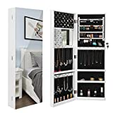 """SONGMICS 5.3"""" D Deepened Jewelry Cabinet Armoire for Bulky Jewelry, Full Screen Larger Mirror Jewelry Organizer, Wall Mounted UJJC90WT"""