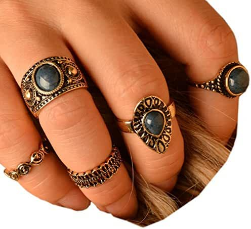 SUNSCSC Vintage Retro Gemstone Joint Knuckle Nail Ring Set of 5 Rings
