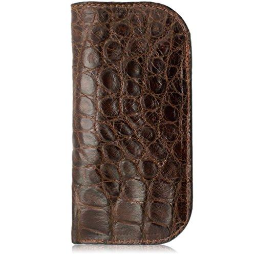 Genuine American Alligator Leather Soft Glasses Case Handmade (Brown)