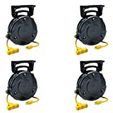 Case of 4 8040T-P, Industrial Retractable Extension Cord Reel w/ Tri-Tap and Circuit Breaker