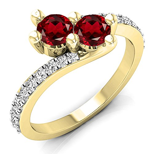 Dazzlingrock Collection 14K Round Garnet & White Diamond Two Stone Bypass Bridal Engagement Ring, Yellow Gold, Size 7 (Two Bypass Ring Stone)