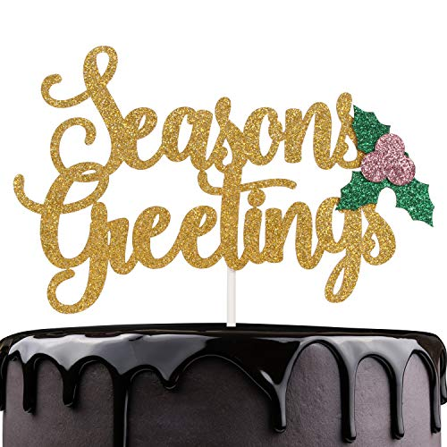 (Seasons Greetings Christmas Cake Topper - Gold Glitter Berries Holly Leaves Winter Festival Cake Décor - Happy Hanukkah - Christmas Holidays Feast Party Decoration)