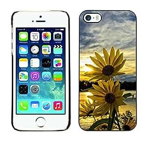 TopCaseStore / la caja del caucho duro de la cubierta de protección de la piel - Coneflower Sunset Sky Yellow - Apple iPhone 5 / 5S