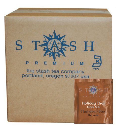 Stash Tea Holiday Chai Black Tea 100 Count Tea Bags in Foil (packaging may vary) Individual Spiced Black Tea Bags for Use in Teapots Mugs or Cups, Brew Hot Tea or Iced Tea
