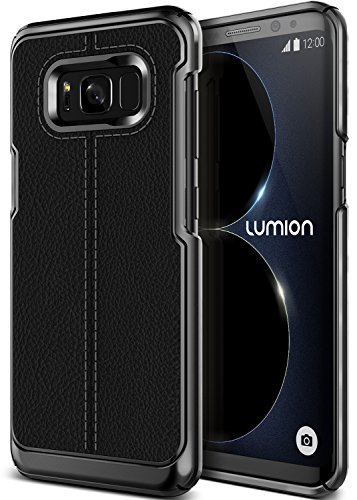 Galaxy S8 Plus Case, Premium PU Leather PC hybrid Slim Thin Fit Full Body Case [Luxury Lightweight Cover] for Samsung Galaxy S8 Plus by Lumion (S.Mod - Black)