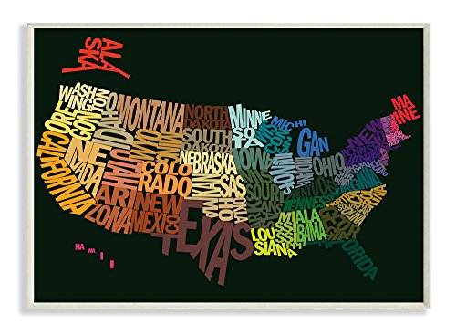 The Kids Room by Stupell USA Typography Map on Black Background Rectangle Wall - Plaque Map