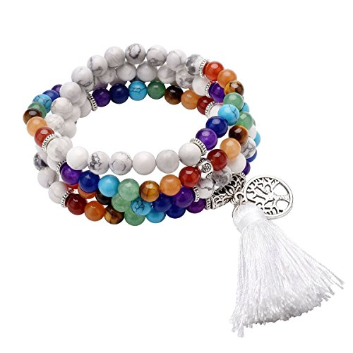 QGEM 108 Prayer Beads Mala Bracelet Tibetan Buddhist Buddha Meditation Stone Necklace with Tree of Life Tassel Pendant-Natural White Turquoise Turquoise Buddha Pendant