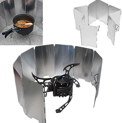 【The Best Deal】OriGlam Foldable Outdoor Camp Stove Windscreen Windshield For Cooker Gas Stove Ultra-light Outdoor Camping Stove 9 Plates