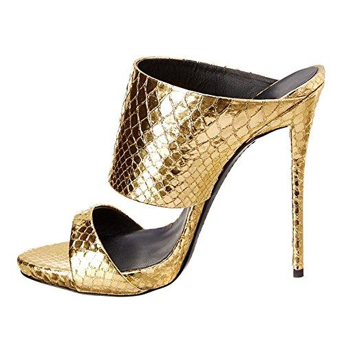 TLJ 4003 De Soirée 44 Sandales KJJDE Talons Transgenre Pantoufles Hauts À Club Mariage Femme Taille Plateforme Gold Talon Sexy Fête Haut 7aYX7x