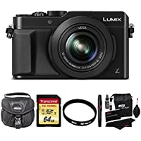 Panasonic LUMIX LX100 16.8 MP Four Thirds CMOS sensor (Up to 12.8 MP used) Point and Shoot Camera with Integrated Leica DC Lens (Black) + Transcend 64GB SDXC U3 + Deluxe Bag + Polaroid 43mm UV Filter + Premium Cleaning Kit Benefits Review Image
