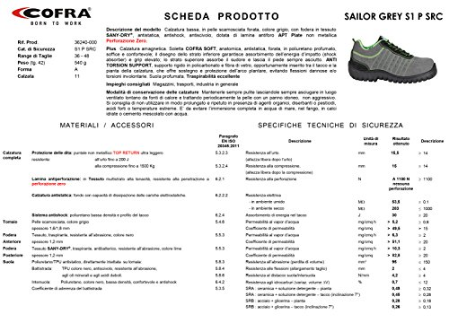 Cofra Sailor S1P SRC par de zapatos de seguridad talla 46GRIS
