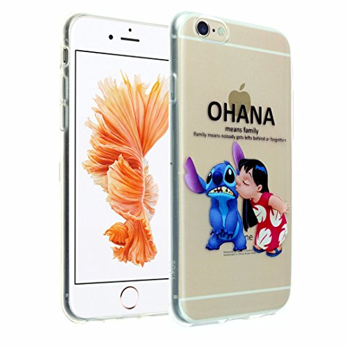 iPhone 6s Case, DURARMOR® FlexArmor [Lifetime Warranty] iPhone 6 Clear Cartoon Lilo & Stitch Ohana Soft Flexible TPU Bumper Case Ultra Thin ScratchSafe Shock Absorption Protective Cover for iPhone 6s