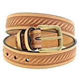 Mens 1 3/8 Natural Tan Harness Leather Embossed Belt Old Brass Buckle