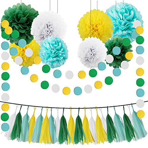 HEARTFEEL Yellow Green White Aqua Blue 30pcs Tissue Paper Pom Poms Tassel Garland Kit for Wedding Bridal Shower Decorations Birthday Party Decor Supplies -